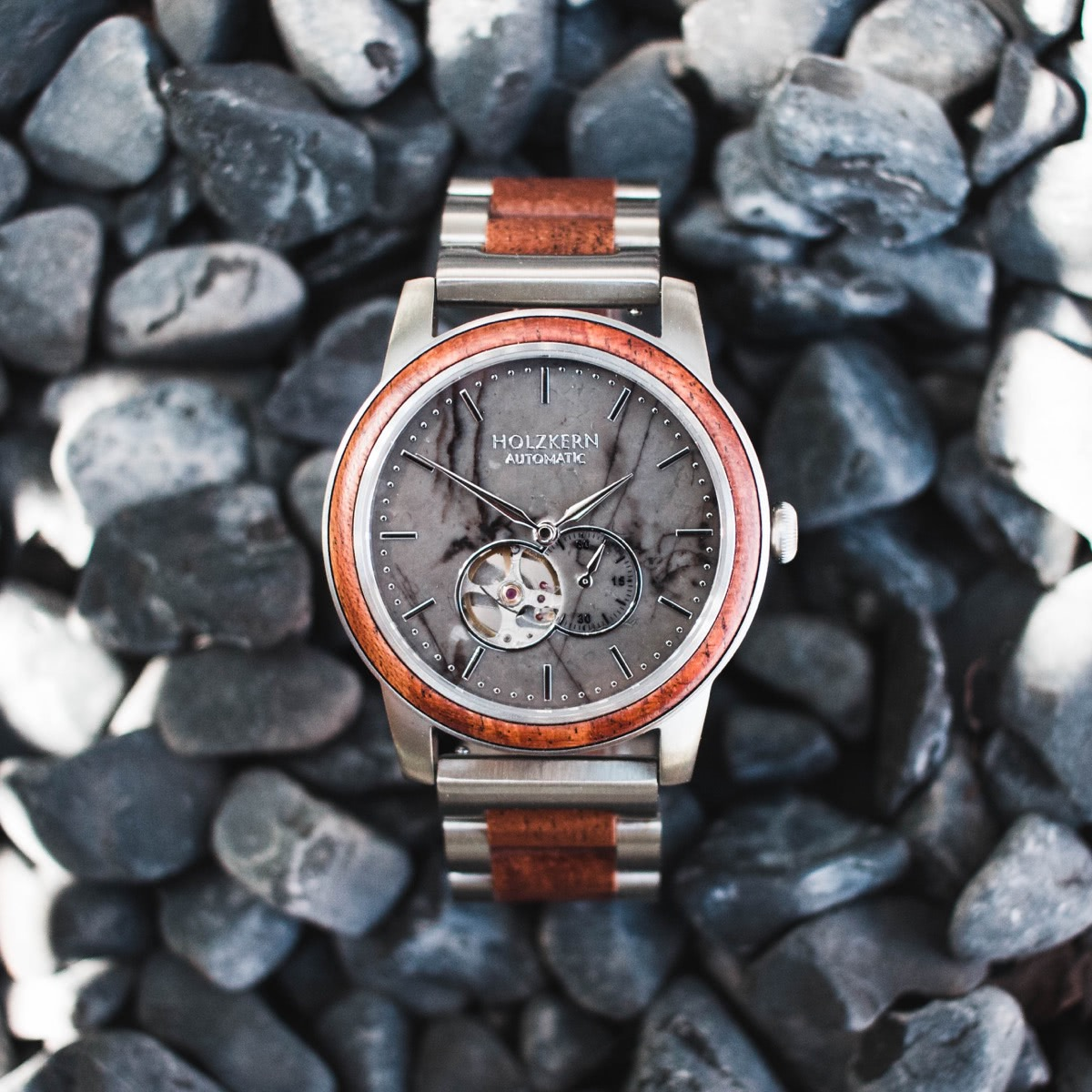 Mens wooden watch Dubai in between stones