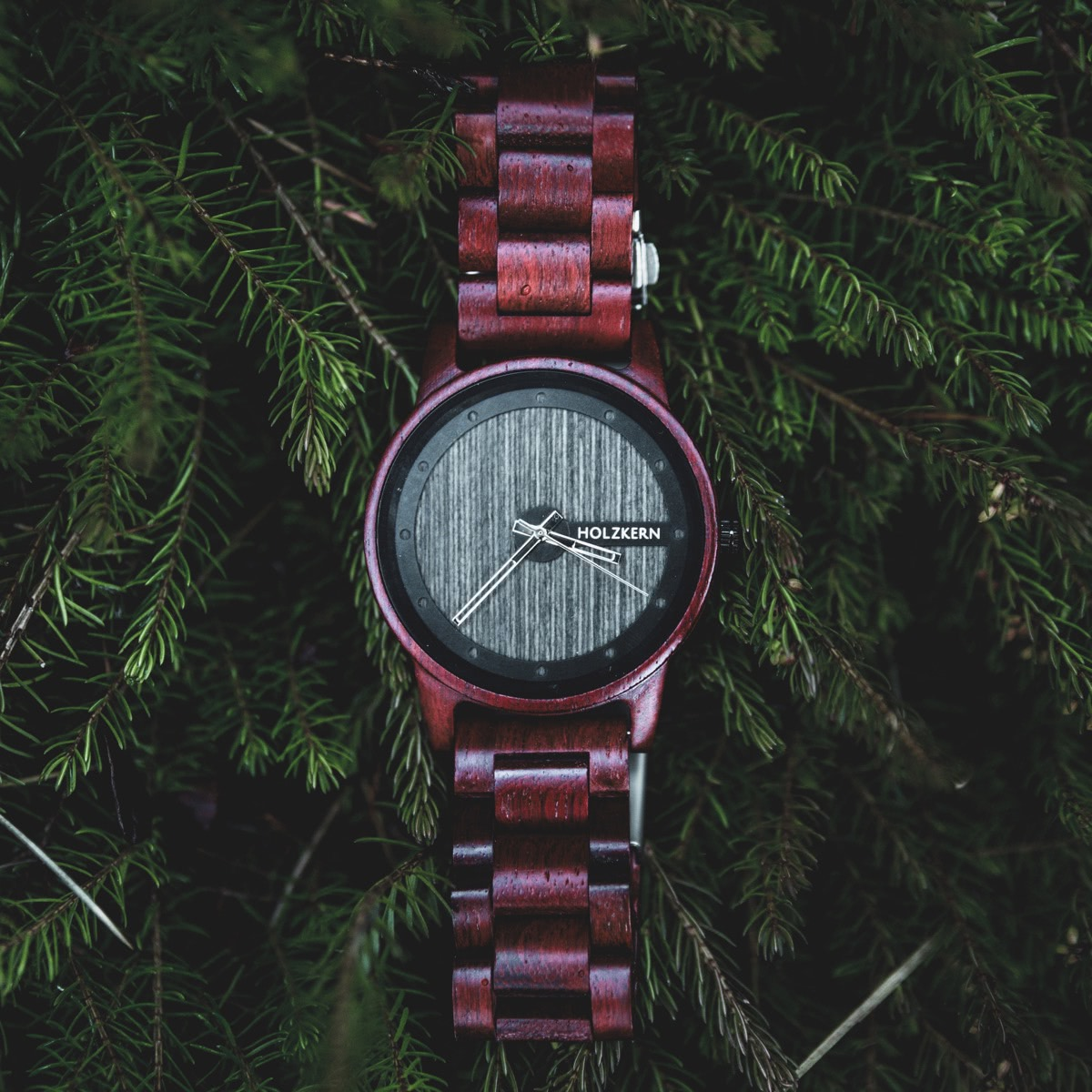 Wooden watch Matterhorn hanging on green conifer branches