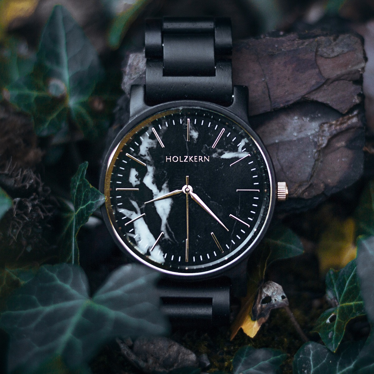 "Wooden watch ""Summer Night"" with a unique black and white marble dial"