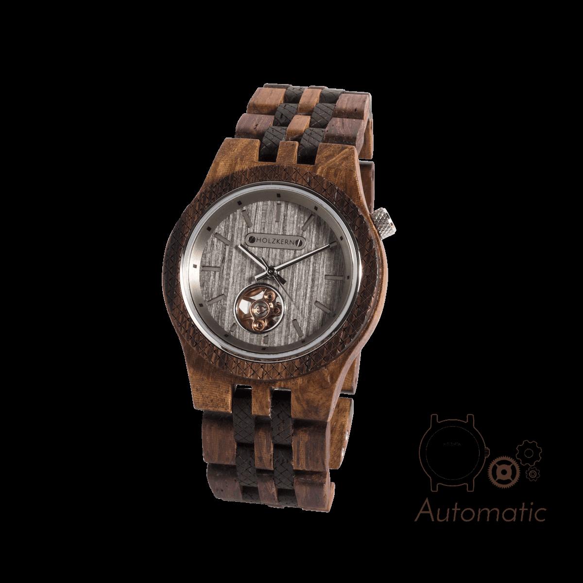 Damen Holzuhr Aurel aus Walnuss und Silbereiche mit sichtbarem mechanischen Uhrwerk und Holzkern Schriftzug