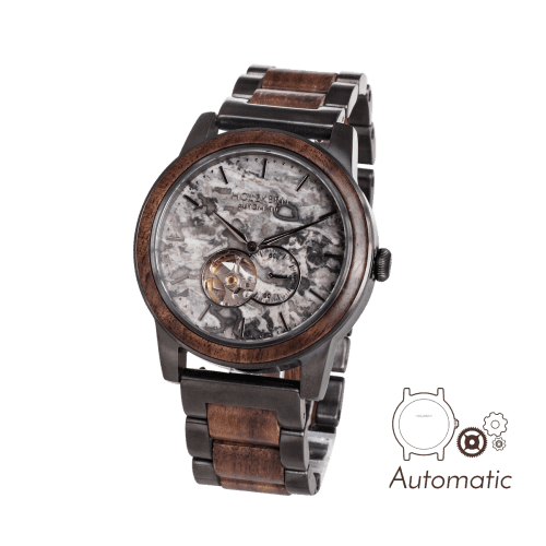Our wooden watch Chicago has an automatic movement and is made of walnut