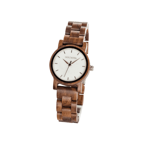 Wood watch air made of walnut on white background