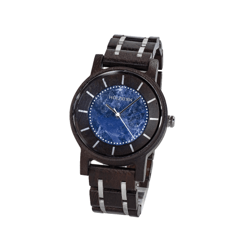 Wooden watch Roald made of Wenge with a Sodalite dial