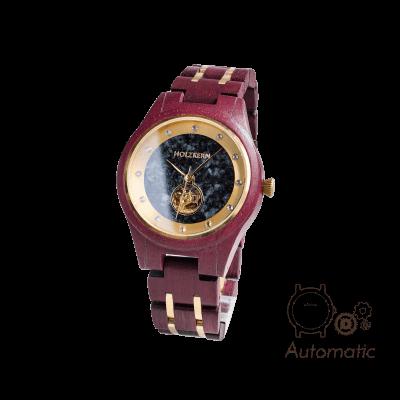 Holzkern Damen Holzuhr Alice aus Amaranth mit Automatik-Uhrwerk und Ziffernblatt aus schwarzem Marmor auf weißem Hintergrund