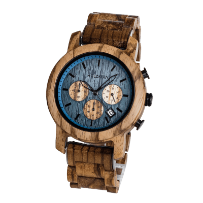 Close up of wood watch Mountainlake by Holzkern on a white background