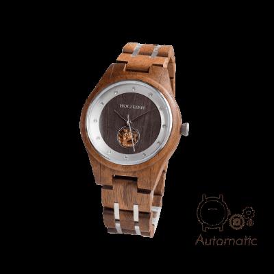 Automatik-Holzuhr für Damen von Holzkern aus Walnuss und Leadwood mit sichtbarem Uhrwerk auf weißem Hintergrund