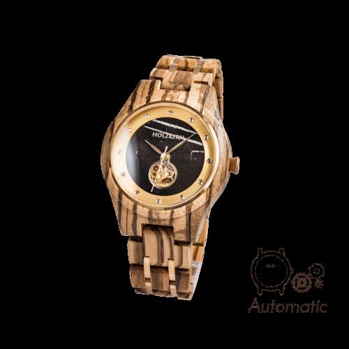 Damen Holzuhr Rapunzel von Holzkern aus Zebranoholz mit Marmor-Ziffernblatt und Automatik-Uhrwerk auf weißem Hintergrund