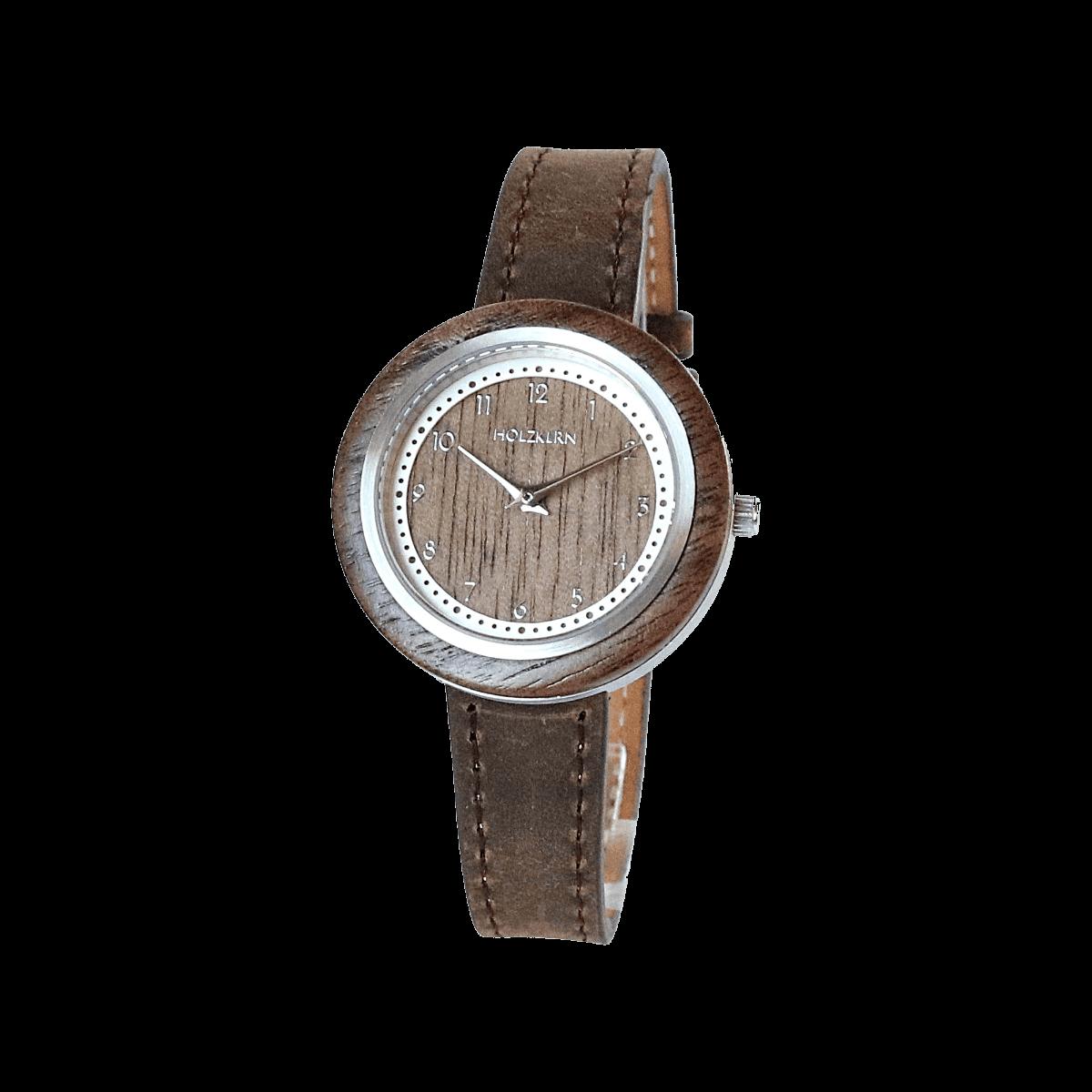Walnussholz undd ein Echtlederarmband machen die Holzuhr Pergola zu einem besonderen Exemplar