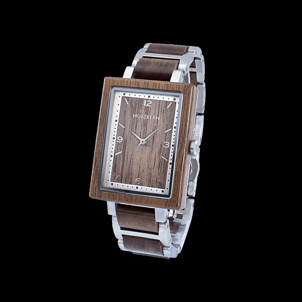 Holzkern Modell Spagna aus Walnuss und Edelstahl in Silber