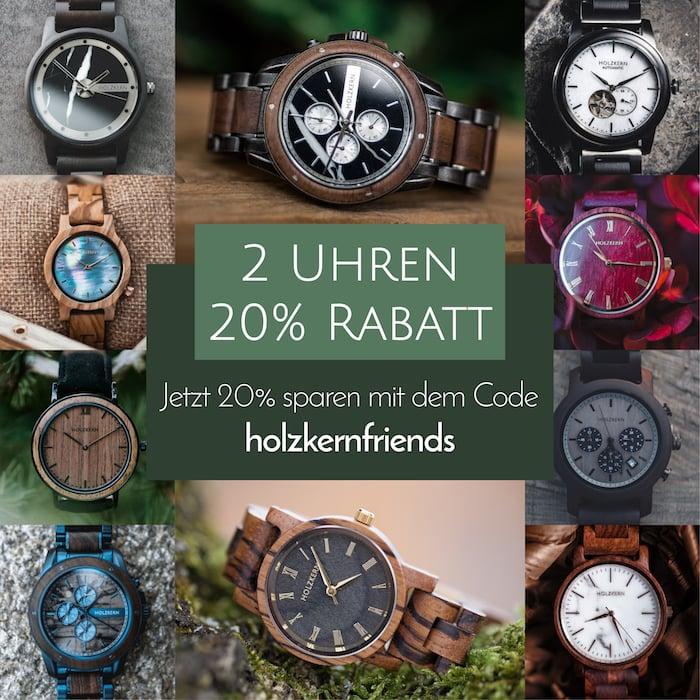 Holzkern Holzuhren | Die Armbanduhren aus Holz und Stein
