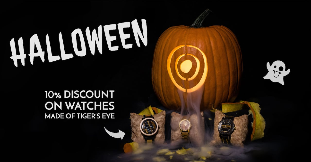Halloween with Holzkern - 10% discount on watches made of tiger's eye