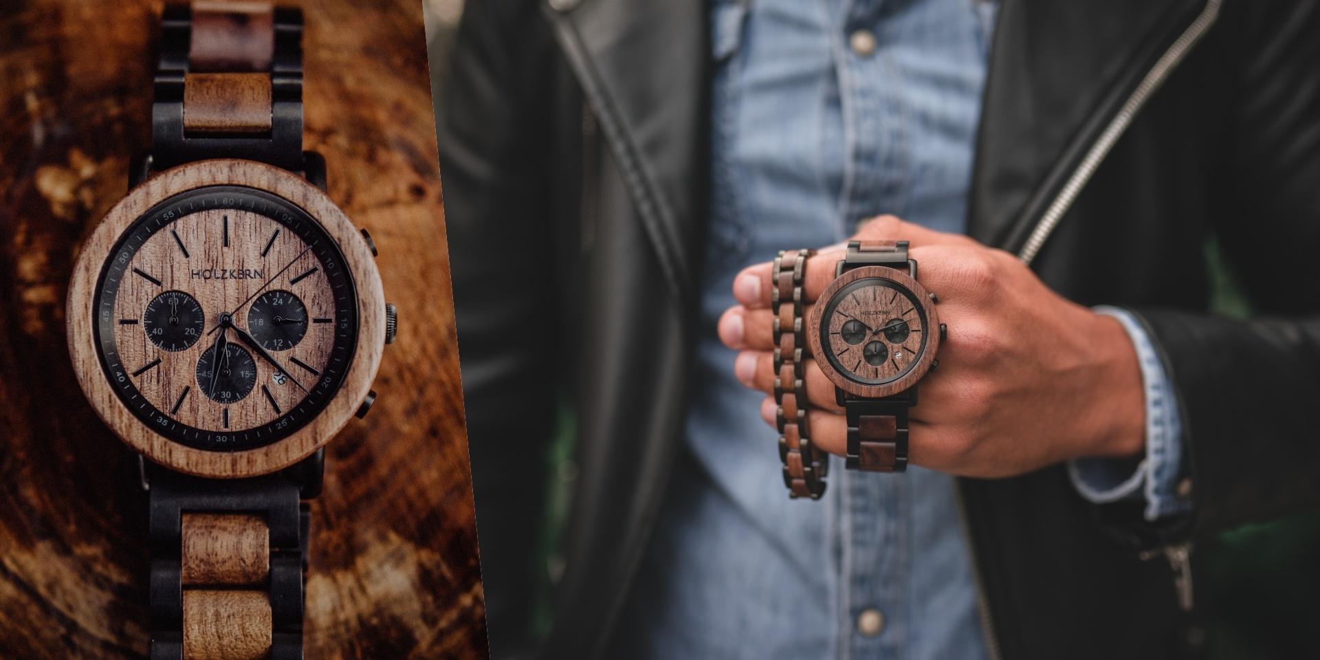 Holzkernuhr Dämmerung mit Armband Dreiklang