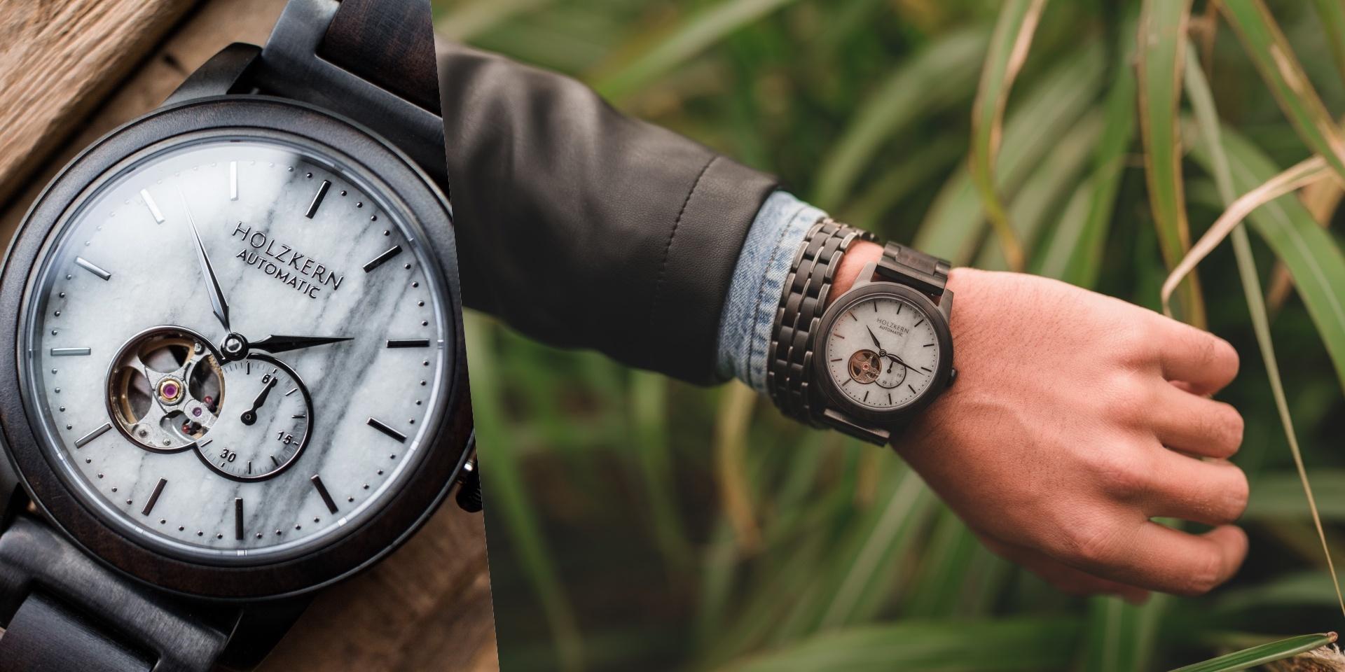 Holzkernuhr Manhattan mit Armband Kanon